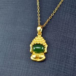 Bi jade Jasper green Jasperite silver 925 necklaces Pendant 03072060