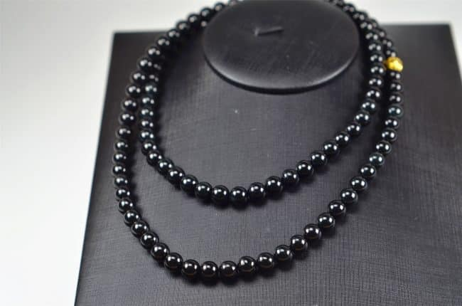 Helen Grade A Jade Black jade beads real genuine Burma jadeite bracelet 7.5mm 03072078 3072078