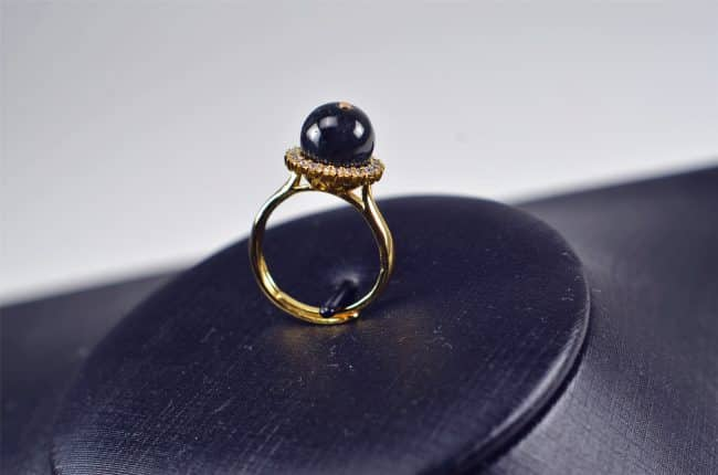 Black jade ring Natural untreated jadeite stone Handmade size free silver plating setting 03072069