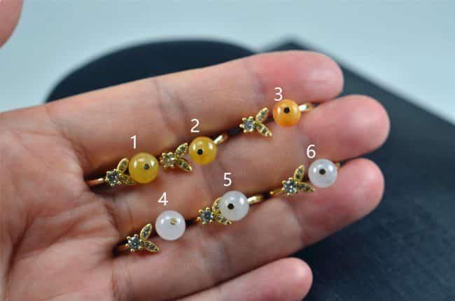 Helen Grade A Jade Jade ring Natural untreated jadeite stone Handmade size free silver plating setting 03072070 3072070