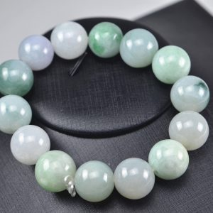 Multicolor jade beads real genuine Burma jadeite bracelet for men 15 mm 03072002