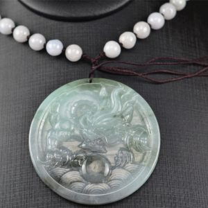 Jade pendant dragon black and green round necklace 03072008