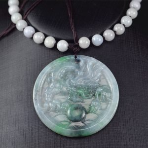 Jade pendant dragon black and green round necklace 03072009