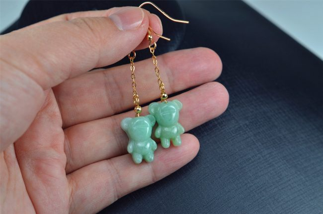 Helen Grade A Jade Jade green bear earrings 14k gold filled,natural jadeite earrings 03072026 3072026