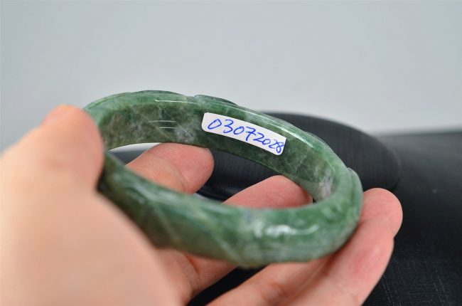 Helen Grade A Jade Carved Green Jadeite Old Jade Bangle with phoenix and dragon  03072028 60mm 3072028