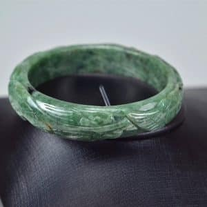 Carved Green Jadeite Old Jade Bangle with Ruyi 03072031 60mm