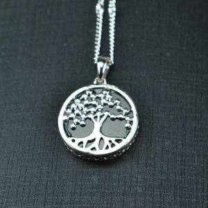 Natural Black jade silver 925 coin life tree 03072048