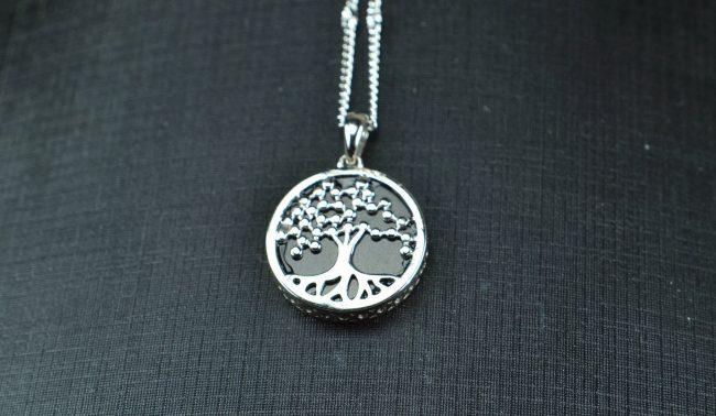 Natural Black jade silver 925 coin life tree 03072048