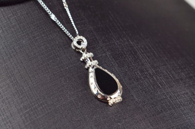 Natural Black jade silver 925 Vase 03072049