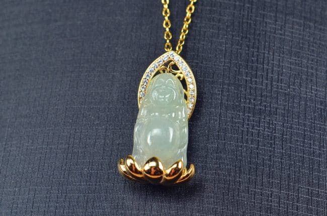 Icy jade pendant with silver 925 Stand Buddha necklace 03072066