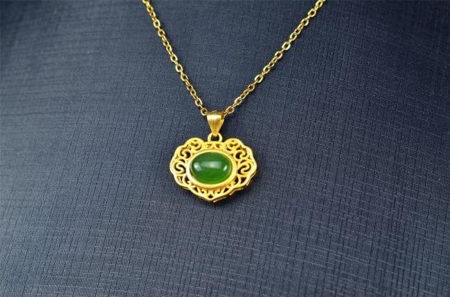 Helen Grade A Jade Bi jade Jasper green Jasperite silver 925 necklaces locker 03072054 3072054