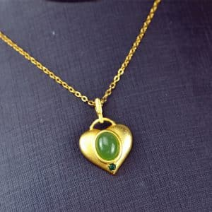 Bi jade Jasper green Jasperite silver 925 necklaces heart 03072055