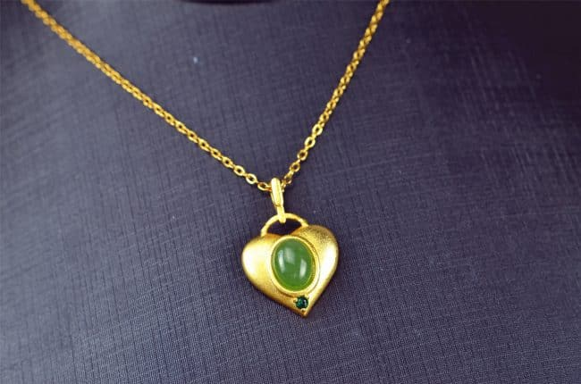 Bi jade Jasper green Jasperite silver 925 necklaces heart 03072055