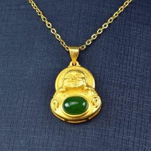Bi jade Jasper green Jasperite silver 925 necklaces Buddha 03072057