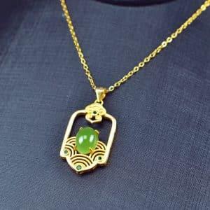 Bi jade Jasper green Jasperite silver 925 necklaces Pendant 03072058
