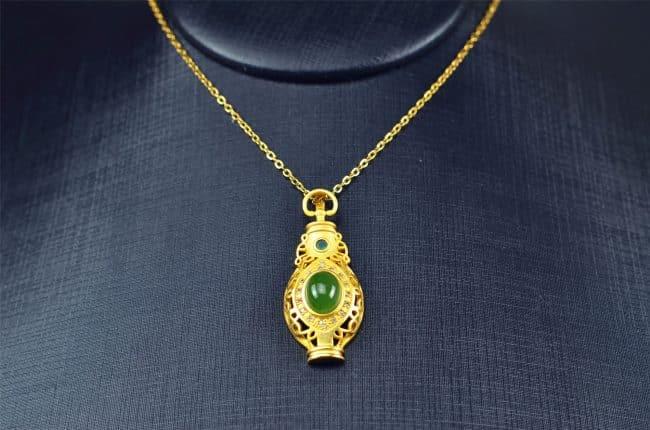 Bi jade Jasper green Jasperite silver 925 necklaces Pendant 03072059