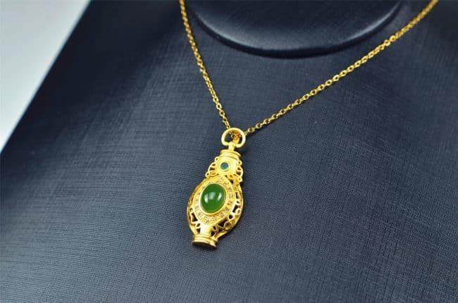 Helen Grade A Jade Bi jade Jasper green Jasperite silver 925 necklaces Pendant 03072059 3072059