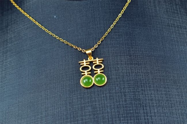 Bi jade Jasper green Jasperite silver 925 necklaces Pendant 03072061