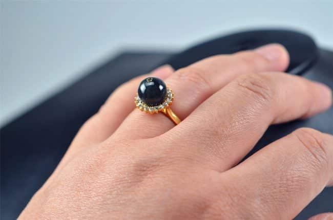 Helen Grade A Jade Black jade ring Natural untreated jadeite stone Handmade size free silver plating setting 03072069 3072069