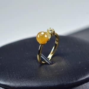 Jade ring Natural untreated jadeite stone Handmade size free silver plating setting 03072070