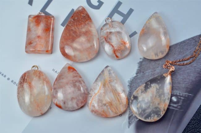Rare Natural Red Phantom Quartz Puffy Teardrop Pendant Side Drilled Gemstone Focal Bead 18082001