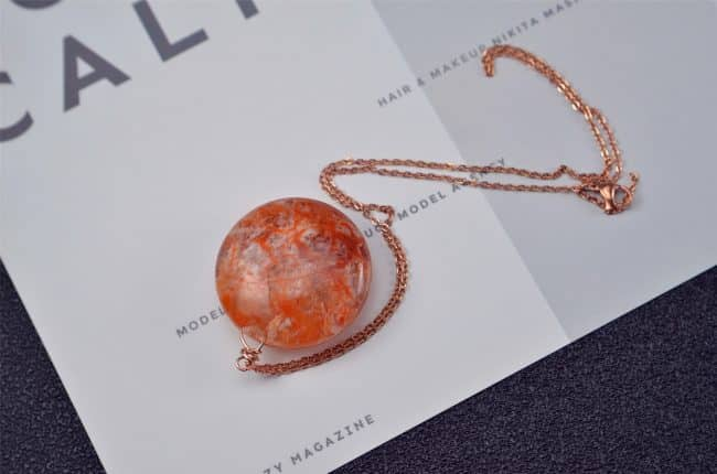 Red Natural Red Phantom Quartz Puffy coin Pendant Side Drilled Gemstone Focal Bead 18082004