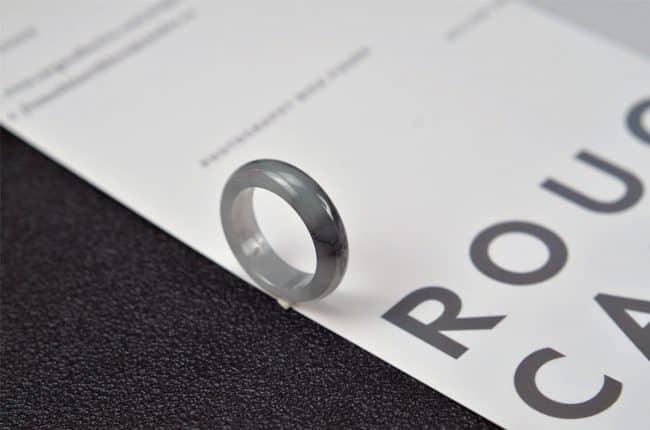 Helen Grade A Jade Jade rings stone band ring black 19.1 mm G18 G18