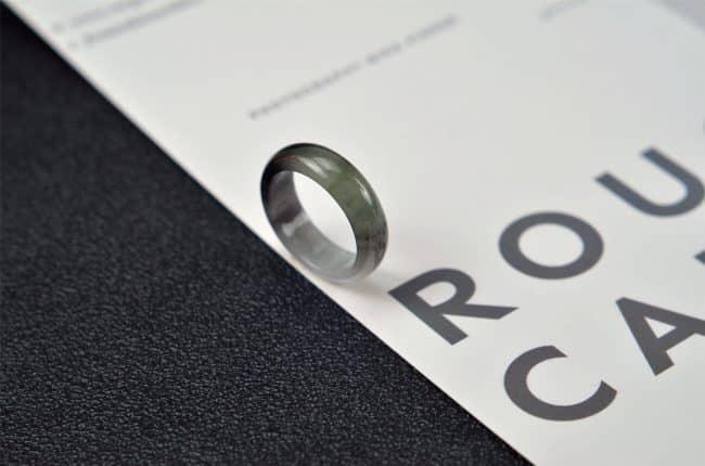 Helen Grade A Jade Jade rings stone band ring black 19.1 mm G25 G25