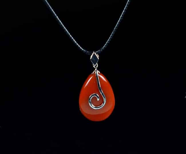 Red Agate Sterling Silver 925 Pendant Necklace 13122001