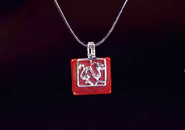 Chinese Dragon Red Agate Sterling Silver 925 Pendant Necklace 13122002